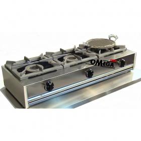3 Εστίες Αερίου -Επιτραπέζια Κουζίνα με Θερμοκόπια 203TH
