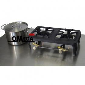2 Εστιών Αερίου -Επιτραπέζια Μαντεμένια Κουζίνα με Θερμοκόπια Europa