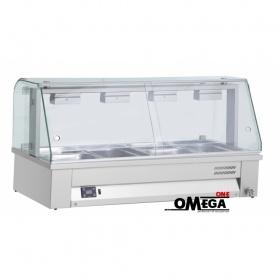Επιτραπέζιο Μπαιν Μαρί με Βιτρίνα 4 x 1/1 GN διαστ. 1410x630x710 mm -Λειτουργία Υγρού τύπου