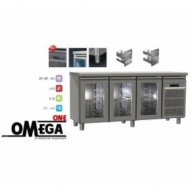 Ψυγείο Πάγκος Συντήρηση με 3 Γυάλινες Πόρτες διαστ. 1750x700x865 mm GN 1/1 Σειρά 70