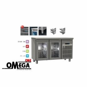 Ψυγείο Πάγκος Συντήρηση με 2 Γυάλινες Πόρτες διαστ. 1300x700x865 mm GN 1/1 Σειρά 70