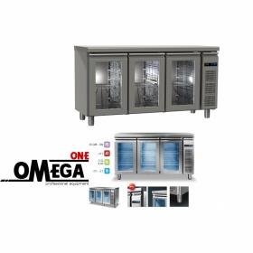Συντήρηση Ψυγείο Πάγκος με 3 Γυάλινες Πόρτες Χωρίς Μηχανή διαστ. 1595x600x865 mm GN ½ & 1/3 Σειρά 60