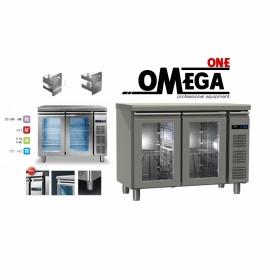 Συντήρηση Ψυγείο Πάγκος με 2 Γυάλινες Πόρτες Χωρίς Μηχανή διαστ. 1145x600x865 mm GN ½ & 1/3 Σειρά 60