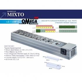Επιτραπέζιο Ψυγείο Σαλατών & Πίτσας διαστ. 1830x330x230  mm mod. ΜΙΧΤΟ