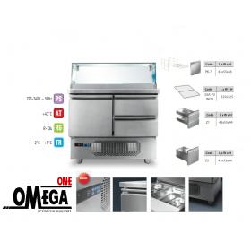 Ψυγείο Σαλατών Βιτρίνα 1 Πόρτα 2 Συρτάρια διαστ. 915x700x1170 mm GN 1/1 -Omega One