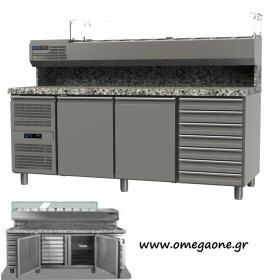 Ψυγείο Πίτσας με Γρανίτη διαστ. 1975x800x865/1440 mm με Πόρτες και Συρτάρια -Omega One