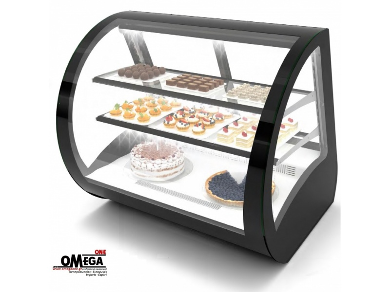 coldcore pastry display glass countertops c bakery inc front countertop double bend case cases curved