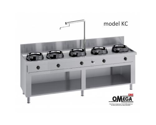 Wok Κουζίνες Αερίου με Βρύση και Αποχέτευση -5 Καυστήρες Επιδαπέδιες