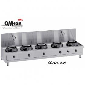 Wok (γουόκ) Κουζίνες Αερίου με Βρύση και Αποχέτευση -5 Καυστήρες Επιτραπέζιες