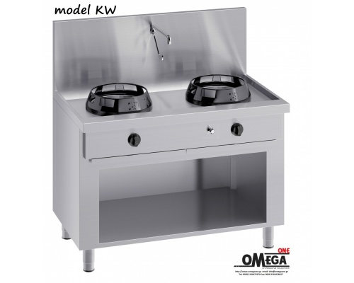 Wok (γουόκ) Κουζίνες Αερίου με Βρύση και Αποχέτευση -2 Καυστήρες Επιδαπέδιες