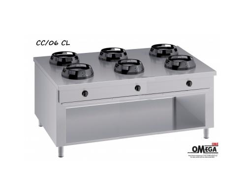 Wok (γουόκ) Κουζίνες Αερίου Κέντρου -6 Καυστήρες