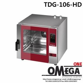 Ζαχαροπλαστικής -5 λαμαρίνες 400x600 mm Κυκλοθερμικός Αερίου Combi Direct Steam Πάνελ Αφής Αυτόματη Πλύση PLUS TDG-605-HD