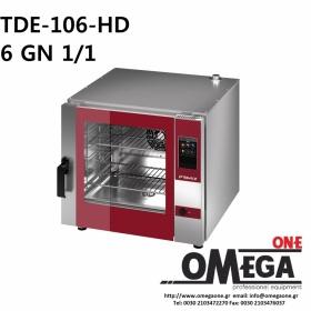 Φούρνος Μαγειρικής -6 GN 1/1 Κυκλοθερμικός Αερίου Combi Direct Steam Πάνελ Αφής Αυτόματο Πλύσιμο, PLUS TDΕ-106-LD