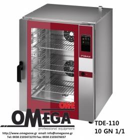 Φούρνος Μαγειρικής -10 GN 1/1 Κυκλοθερμικός Αερίου Combi Direct Steam Πάνελ Αφής Αυτόματη Πλύση PLUS TDΕ-110-LD