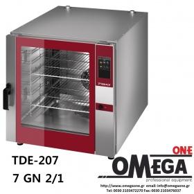 Φούρνος Μαγειρικής -7 GN 2/1 Κυκλοθερμικός Αερίου Combi Direct Steam Πάνελ Αφής Αυτόματη Πλύση, PLUS TDΕ-207-HD
