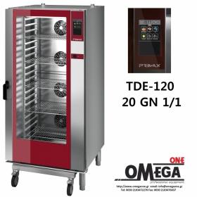 Φούρνος Μαγειρικής -20 GN 1/1 Κυκλοθερμικός Αερίου Combi Direct Steam Πάνελ Αφής Αυτόματη Πλύση, PLUS TDΕ-120-LD