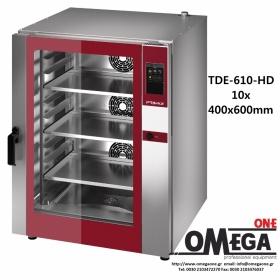 Φούρνος Ζαχαροπλαστικής -10 λαμαρίνες 400x600 mm Κυκλοθερμικός Ηλεκτρικός Combi Direct Steam Πάνελ Αφής Αυτόματη Πλύση  PLUS TDΕ-610-HD