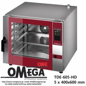 Φούρνος Ζαχαροπλαστικής -5 λαμαρίνες 400x600 mm Κυκλοθερμικός Ηλεκτρικός Combi Direct Steam Πάνελ Αφής Αυτόματη Πλύση  PLUS TDΕ-605-HD