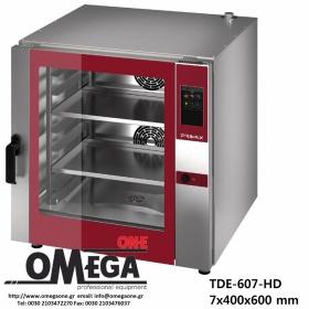 Φούρνος Ζαχαροπλαστικής -7 λαμαρίνες 400x600 mm Κυκλοθερμικός Ηλεκτρικός Combi Direct Steam Πάνελ Αφής Αυτόματη Πλύση PLUS TDΕ-607-HD