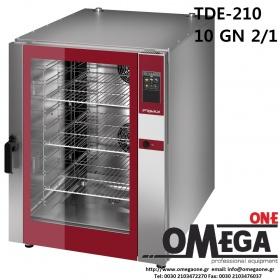 Φούρνος Μαγειρικής -10 GN 2/1 Κυκλοθερμικός Αερίου Combi Direct Steam Πάνελ Αφής Αυτόματη Πλύση, PLUS TDΕ-210-HD