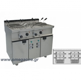Single Tank Electric Pasta cooker with automatic 8 basket lifts
