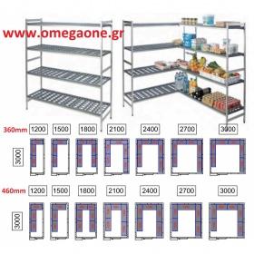 Ραφιέρες με 4 Ράφια Συναρμολογούμενες Ψυγείων Πάνελ μήκους 3000mm /M80