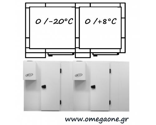 Διπλά Συντήρηση και Κατάψυξη Λυόμενα Πάνελ με Πάτωμα και Εσωτερικό Χώρισμα ΜΟΝΩΣΗ 120mm