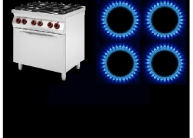 4 ΕΣΤΙΩΝ -Επιδαπέδιες Κουζίνες ΑΕΡΙΟΥ με Φούρνο ΑΕΡΙΟΥ