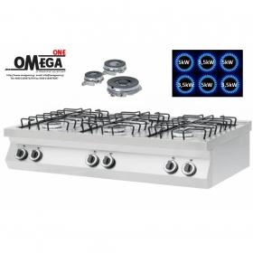6 Εστίες Αερίου -Επιτραπέζια Κουζίνα με Θερμοκόπια 25,5kW