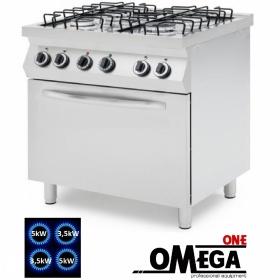 Κουζίνα με 4 Εστίες Αερίου με Ηλεκτρικό Πολυλειτουργικό Αερόθερμο Φούρνο GN 1/1 ProChef