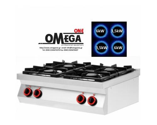 4 Εστίες Αερίου -Επιτραπέζια Κουζίνα με Θερμοκόπια 19kW