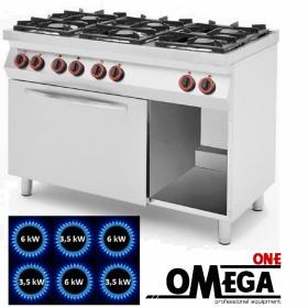 Κουζίνα 6 Εστιών Αερίου με Στατικό Φούρνο Αερίου GN 1/1 με Γκριλ Αερίου