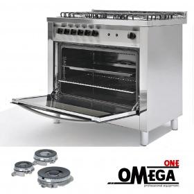 Κουζίνα με 5 Εστίες Αερίου με Ηλεκτρικό Πολυλειτουργικό Αερόθερμο Φούρνο και Γκριλ