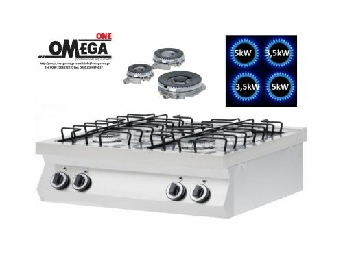 4 Εστίες Αερίου -Επιτραπέζια Κουζίνα με Θερμοκόπια 17kW