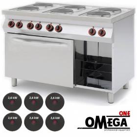 Ηλεκτρική Κουζίνα 6 Εστιών με Φούρνο Κυκλοθερμικό Αερόθερμο και Αποθηκευτικό Ντουλάπι