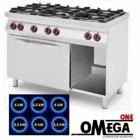 Κουζίνα 6 Εστιών Αερίου με Στατικό Φούρνο Αερίου GN 1/1