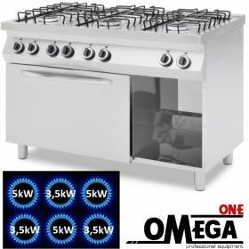 Κουζίνα με 6 Εστίες Αερίου με Ηλεκτρικό Πολυλειτουργικό Αερόθερμο Φούρνο GN 1/1 ProChef