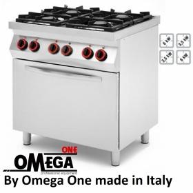 Κουζίνα με 4 Εστίες Αερίου με Ηλεκτρικό Πολυλειτουργικό Αερόθερμο Φούρνο GN 1/1