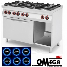 Κουζίνα με 6 Εστίες Αερίου με Ηλεκτρικό Πολυλειτουργικό Κυκλοθερμικό Φούρνο GN 1/1