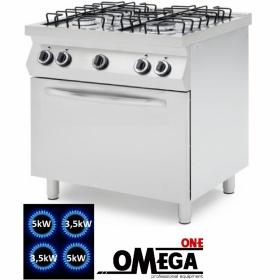 Κουζίνα 4 Εστιών Αερίου με Στατικό Φούρνο Αερίου GN 1/1 -ProChef