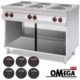 Ηλεκτρική Κουζίνα 6 Εστιών με Ανοιχτό Ντουλάπι