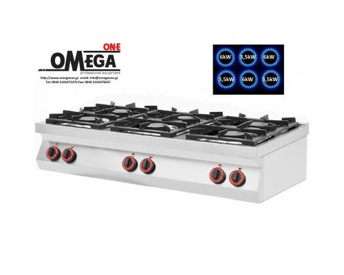 6 Εστίες Αερίου -Επιτραπέζια Κουζίνα με Θερμοκόπια 28,5kW