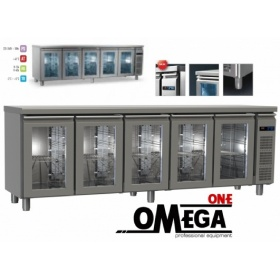 Συντήρηση Ψυγείο Πάγκος με 5 Γυάλινες Πόρτες Χωρίς Μηχανή διαστ. 2495x600x865 mm GN ½ & 1/3 Σειρά 60