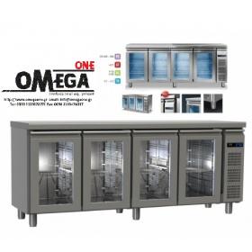 Συντήρηση Ψυγείο Πάγκος με 4 Γυάλινες Πόρτες Χωρίς Μηχανή διαστ. 2045x600x865 mm Σειρά 60