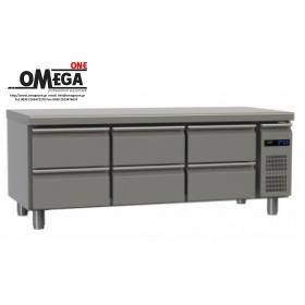 Συντήρηση Ψυγείο Πάγκος με 6 Συρτάρια Χωρίς Μοτέρ διαστ. 1595x700x640 mm GN 1/1 Σειρά 70