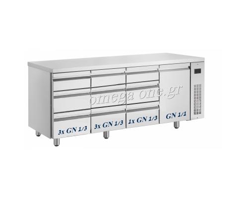 Συντήρηση Ψυγεία Πάγκοι με Συρτάρια & Πόρτες Χωρίς Μηχανή μήκος 1995mm