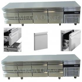 ΧΑΜΗΛΑ σε Ύψος Ψυγεία Πάγκοι Συντήρηση με Πόρτες και Συρτάρια διαστ.2240mm OMEGA One,gr