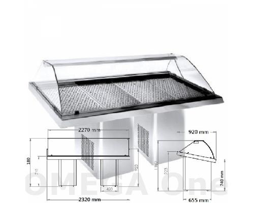 Ψυγείο Βιτρίνα Προβολής Ψαριών 2 Κολώνες με Ρόδες 2320x900x1200 mm