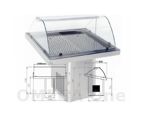 Ψυγείο Βιτρίνα Προβολής Ψαριών Κολώνα με Ρόδες 1440x900x1200 mm